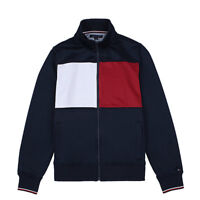 NWT Men's Tommy Hilfiger Full Zip Mock Neck Color Block Sweater Jacket