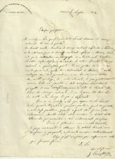 Lettera Autografo Biologo Giovanni Canestrini Aracnologo Padova Zoologia 1874