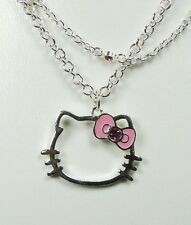 Pendentif Hello Kitty double chaîne strass nœud rose