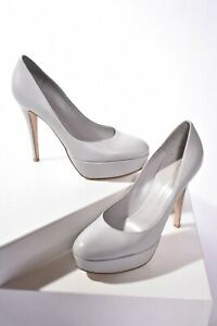NWOB GIANVITO ROSSI Dove Grey Smooth Calf Leather Platform Pumps 38.5 Italy