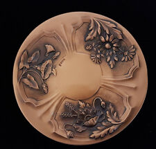 Signed Repoussé Embossed Copper Wall Plate Marguerite Daisy Albert Gilles Canada