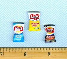 DOLLHOUSE Miniature 3 Different Flavors Lunch size Potato Chip Bags