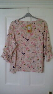 BNWT - Cotton Traders - pink floral blouse, 3/4sleeves, size 22
