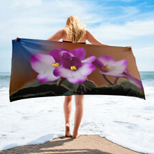 African Violet Floral Beach Towel Bath Hot Pink