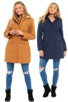 Ladies Waterproof Lightweight Autumn Winter Thigh Length Hooded Coat Size 10- 24