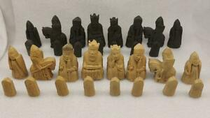 Isle of Lewis Chessmen Resin Chess Pieces set   A/F Missing 1 Pawn