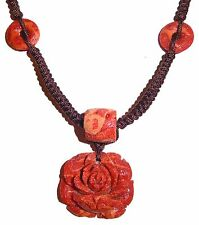 Red Sponge Coral Pendant Necklace Carved Rose Flower Braided Cord