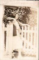 Vintage Antique Photo, Flapper girl at gate in skirt & heels , c1920's. pb5