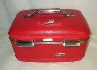 Vintage American Tourister Train Case Luggage RED w Key JB
