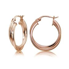Rose Gold Flash Silver Square-Tube Intertwined 20mm Double Round Hoop Earrings