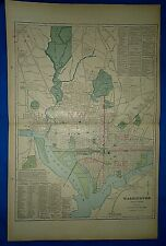 Vintage 1903 MAP ~ WASHINGTON DC / DISTRICT of COLUMBIA ~ Old Antique Original