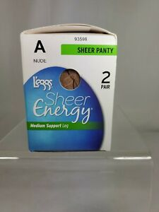 L'eggs Sheer Energy All Sheer Pantyhose 2 Pairs Sheer Styling Nude Size A