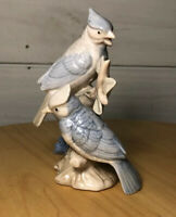 "Blue Jays Sitting on Branch Figurine Porcelain 5"" Tall Vintage Applied Flowers"