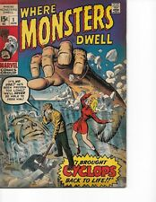 Where Monsters Dwell  #1 (Cyclops  FN  6.0) Jan-1970,  Marvel