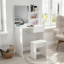 White Dressing Table Makeup Desk Vanity Set w/ Drawer Mirror 2 Shelves Bedroom