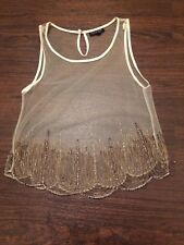 TOPSHOP 1920s Charleston top, gatsby. Cream With Gold Sequins. Night Out. Size 8