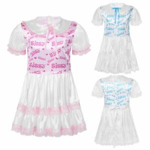 Men's Sissy Lace Skirt Short Dress Silky Satin Babydoll Costume Cute Sleepwear