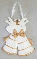 """Anniversary Bells Doves 50th Ornament Gold & White 4"""" Resin Gift Box Kurt Adler"""