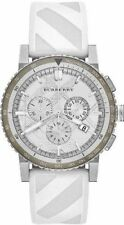 Burberry White Dial Stainless Steel Rubber Chronograph Quartz Mens Watch BU9810