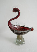 Murano vintage art glass bird in clear and red gold glass - FREE SHIPPING