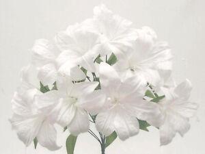 """WHITE Tiger Lily Bush Satin Artificial Flowers 19"""" Bouquet 11-8225WT"""
