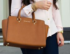100% Michael Kors - SELMA LARGE - Saffiano Leather Satchel-Brown Boxed