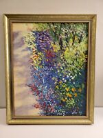 Stunning Vtg Flowing Gardening Oil Painting on Canvas Signed and Framed