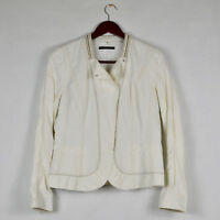 ELIE TAHARI Soft White Jacket w Stitching & Metal Trim Detail Coated Cotton Sz M