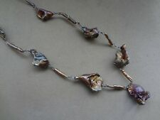 NATURAL ORGANIC RAW ORE STERLING 925 FREE-FORM NUGGET STATION NECKLACE