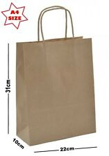 10 x Kraft Tan Paper Party Gift Bags ~ Boutique Shop Loot Carrier Bag - SIZE A4