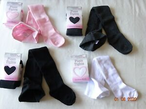 1 PAIR BABY TIGHTS GIRLS CASUAL WEAR, COTTON BLACK GREY WHITE PINK 0-36 Months
