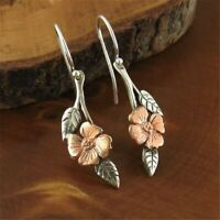 Retro Boho Women 925 Silver Flower Earrings Ear Hook Dangle Drop Wedding Jewelry