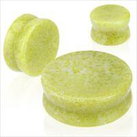 PAIR Organic Lemon Yellow Jade Stone Saddle Ear Plugs Gauges Double Flare