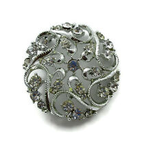 STAR Signed Rhinestone Silver Tone Brooch Pin Vintage Jewelry