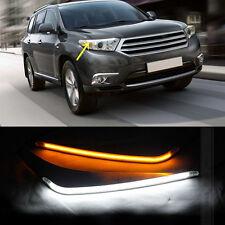 1set LED Headlight Eyebrows Trim Lamp Cover DRL For Toyota Highlander 2011-2013