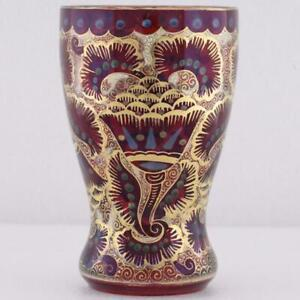 ANTIQUE MOSER ELEPHANT TRUNK ENAMEL GILD GLASS GOBLET BEAKER CUP ISLAMIC OTTOMAN
