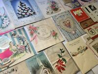 1940s Lot Vintage Greeting Cards Xmas Valentine Easter Bday Tissue Honeycomb