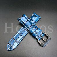 24 MM Blue Alligator Leather Watch Band Strap Fits Panerai Exotic Skin Luminor