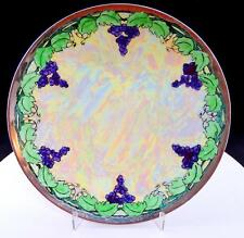 "PT BAVARIA TIRSCHENREUTH LUSTERWARE GRAPES AND LEAVES 9"" CABINET PLATE 1903-1927"