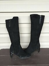 KENNETH COLE NEW YORK GLASS ACT SUEDE HEEL BLACK WOMENS DRESS BOOT SZ 6 EUC $298