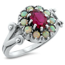LAB RUBY & OPAL ANTIQUE VICTORIAN STYLE 925 STERLING SILVER RING SIZE 9     #205