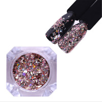 HOT Holographic Nail Glitter Holo Flakes Rose Gold Sequins Decoration With Brush