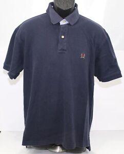 Vintage Tommy Hilfiger Mens Large Navy Blue Pique Polo Shirt Crest Logo Cotton