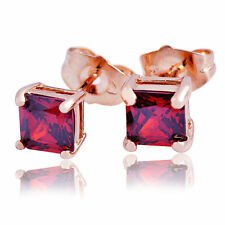 24K Yellow Solid Gold Filled Womens Girls Punk Red Ruby Square Stud Earrings