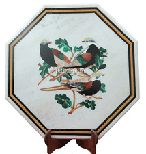 """18"""" White Marble Coffee Corner Table Top Birds Inlay Kitchen Decor Gifts H2193"""