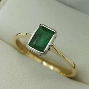 9ct Yellow Gold Collar Set Emerald Ring, Finger Size L 1/2