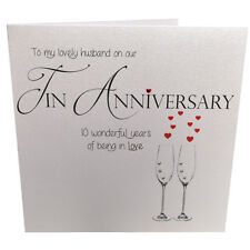 10th Tin Wedding Anniversary Card for Husband, Handmade with Crystals