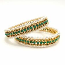 Asian Bridal Indian Traditional Jewellery Polki Pearls Bangles Size:2.10