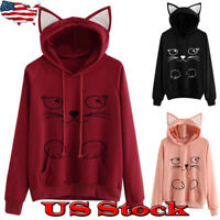 Women Long Sleeve Cute Cat Pattern Print Cat Ear Hoodie Pullover Sweatshirt Tops