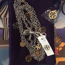 NWT AUTHENTIC TORY BURCH Silver & Gold Logo Charm Rosary Necklace RETAIL $175
